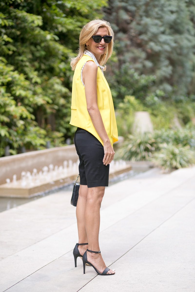 Canary Yellow Vest And Stripe Lace Up Tunic-Jacket-society-5022