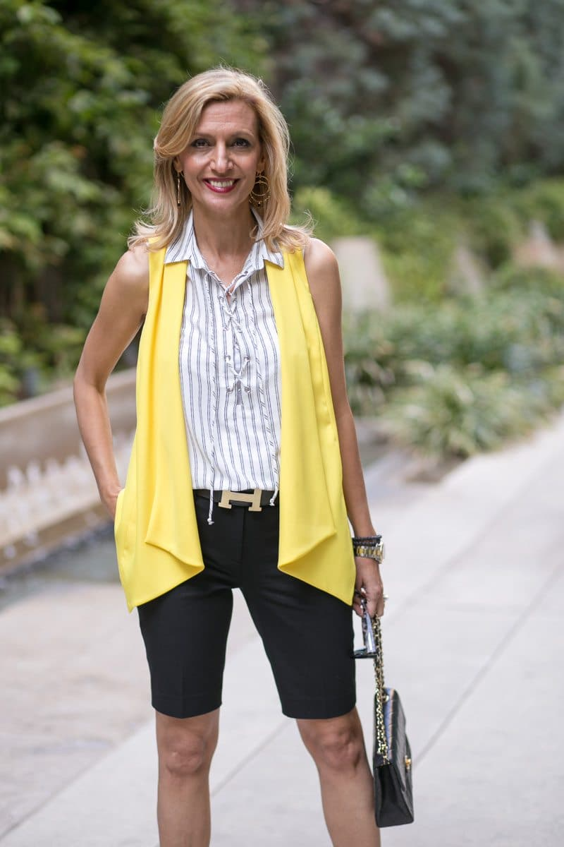 Canary Yellow Vest And Stripe Lace Up Tunic-Jacket-society-5026