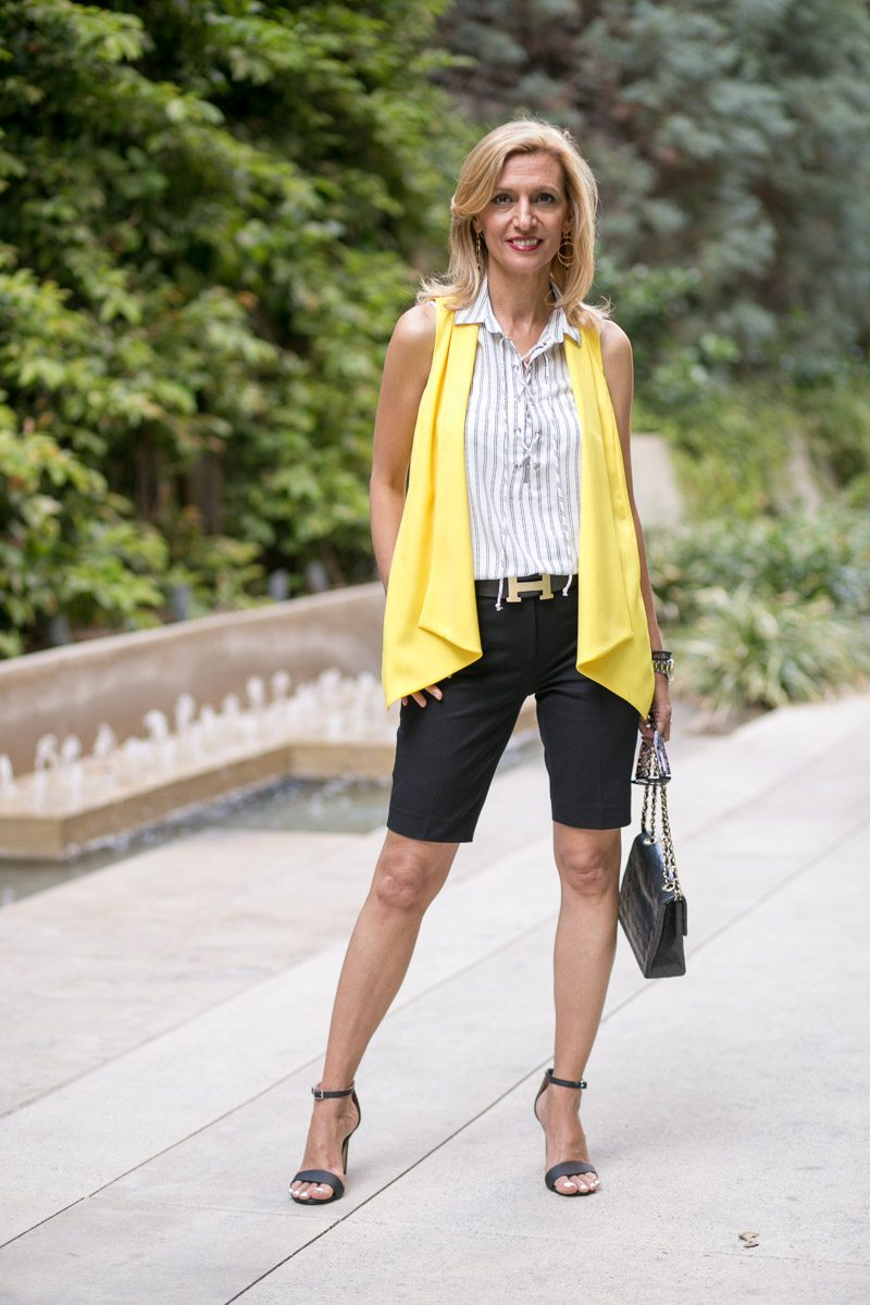 Canary Yellow Vest And Stripe Lace Up Tunic-Jacket-society-5027