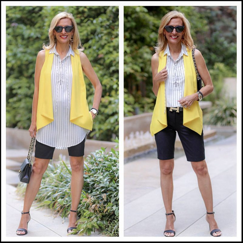 Canary Vest With Stripe Lace Up Tunic