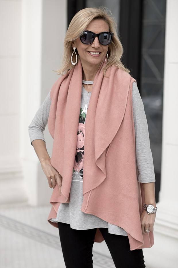 Rose Pink Cape Vest With Heather Gray Graphic Tee