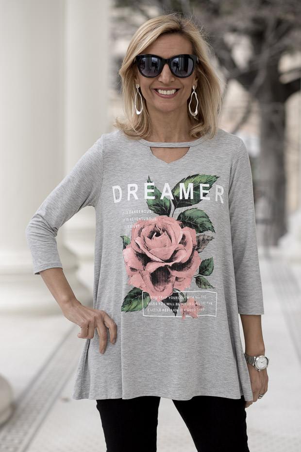Womens Heather Gray Graphic Rose Tee Shirt