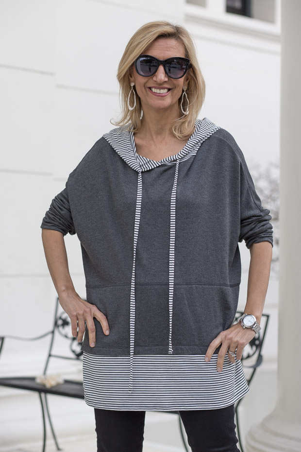 Stripe and Solid Hooded Top for Women