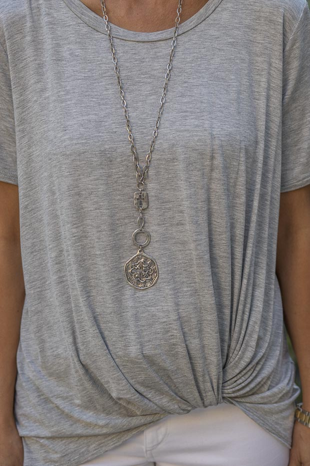 silver cross and coin dabloon necklace
