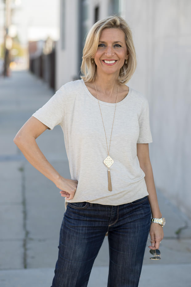 womens oatmeal round neck short sleeve top