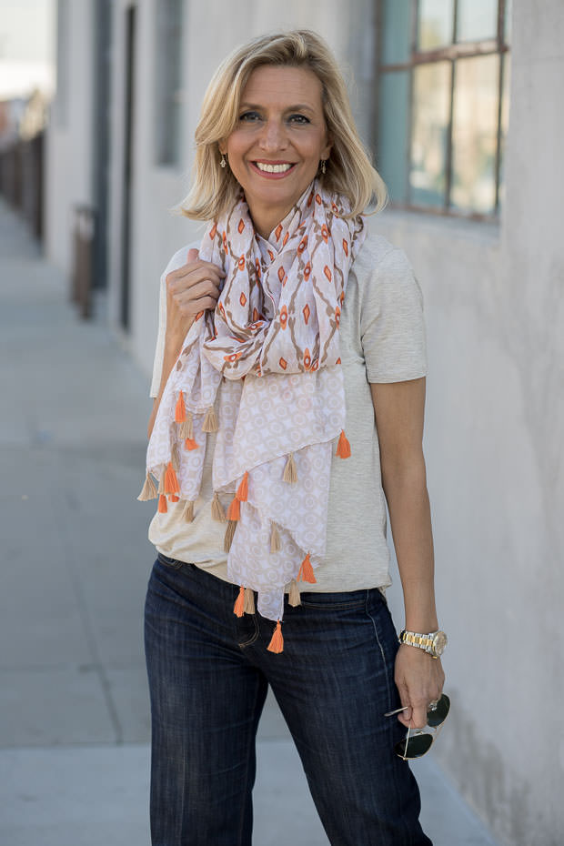 womens oatmeal round neck short sleeve top and multi color scarf