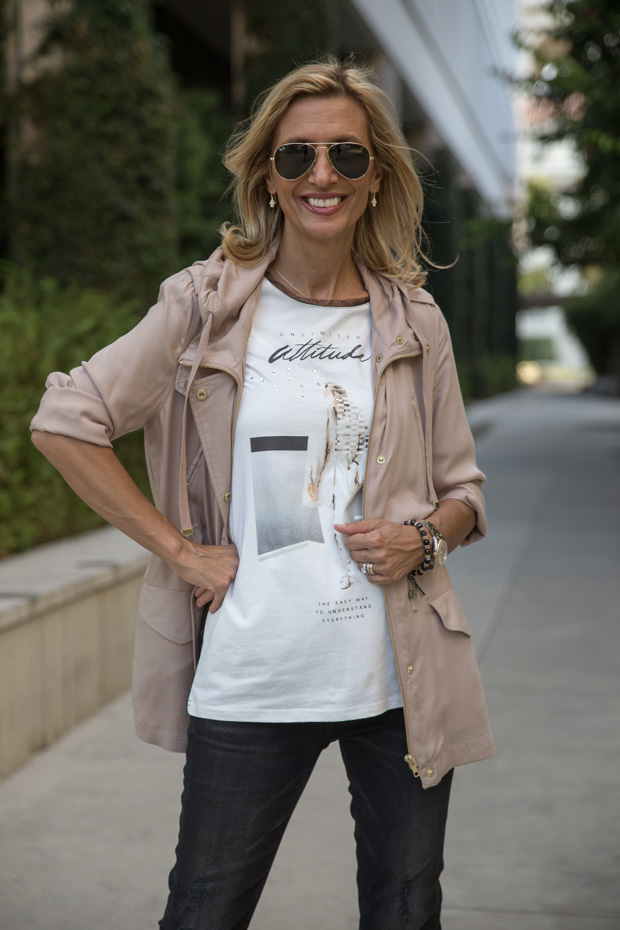 casual look with tan cargo jacket and tee