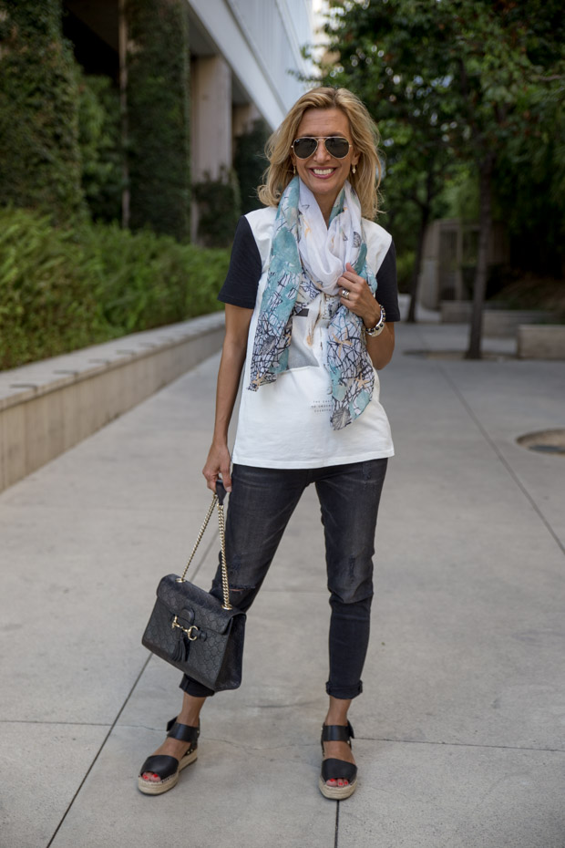 grifflin t shirt and turquoise scarf