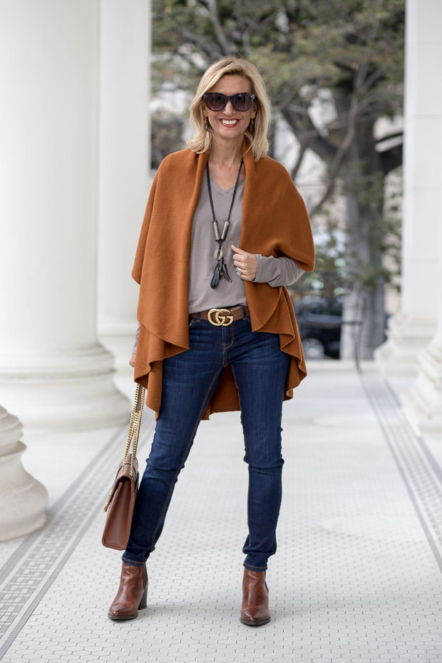 New womens Cinnamon cape vest and gray v neck long sleeve top