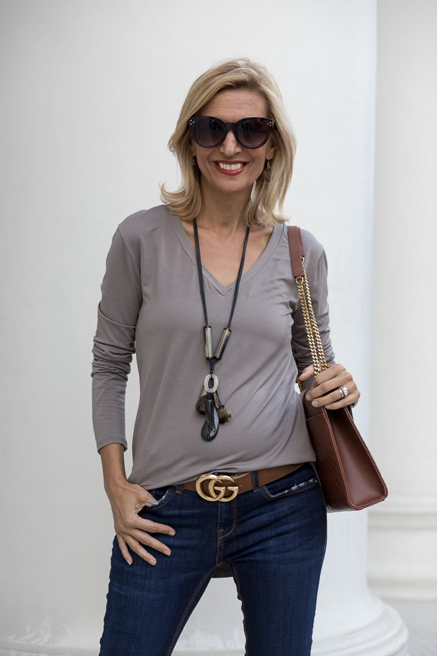 New womens gray v neck long sleeve top