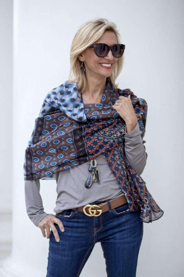 New womens gray v neck long sleeve top and shawl