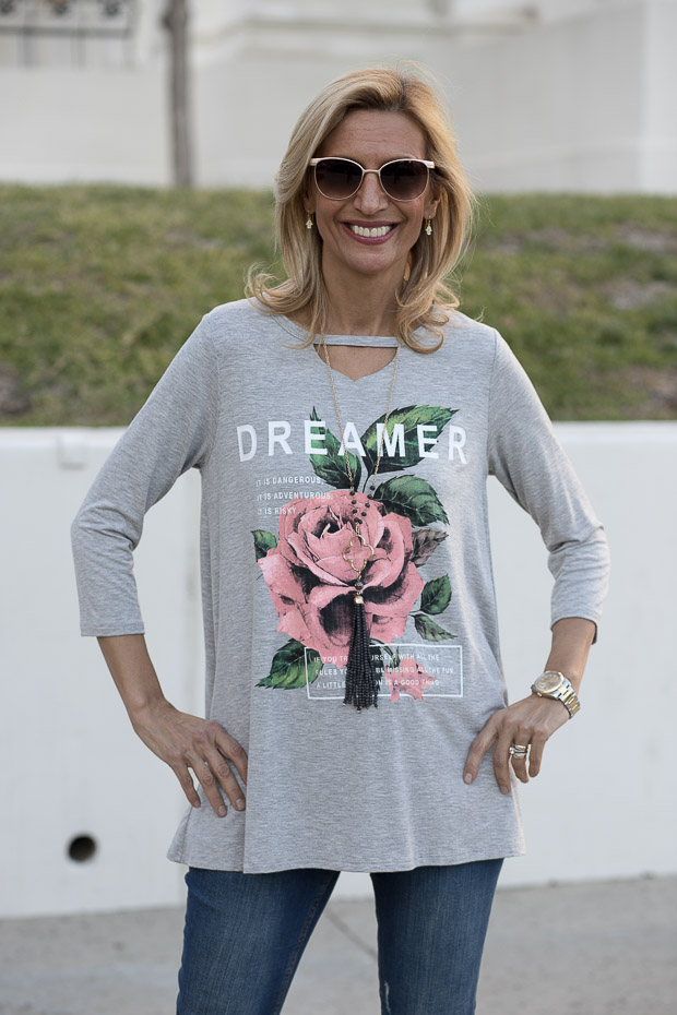 Womens Heather gray graphic T shirt