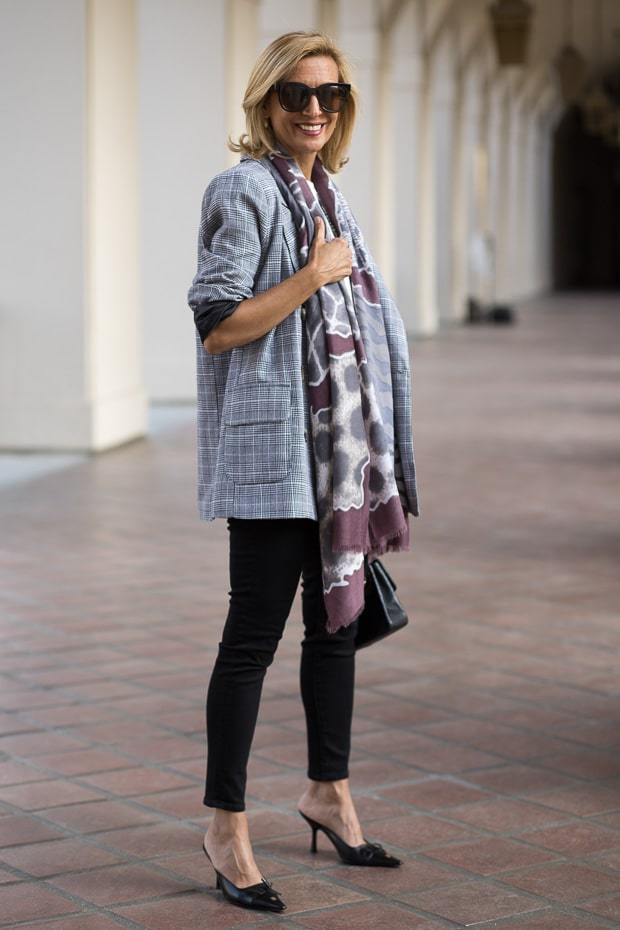 fall trend for women double breasted gray plaid blazer with mauve print scarf