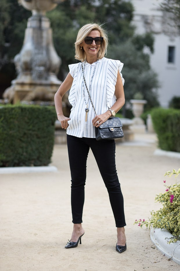 Styling our new stripe sleevless shirt with double ruffle detail at pasadena city hall california