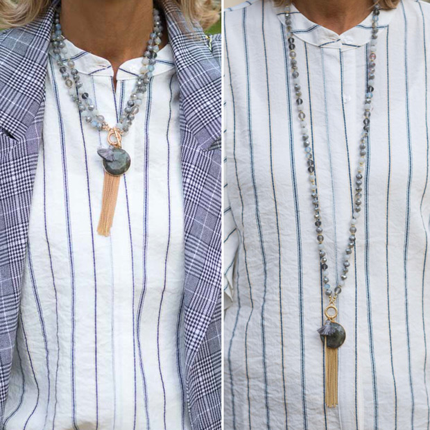 double strand bead necklace with marbleized stone and gold tone fringe