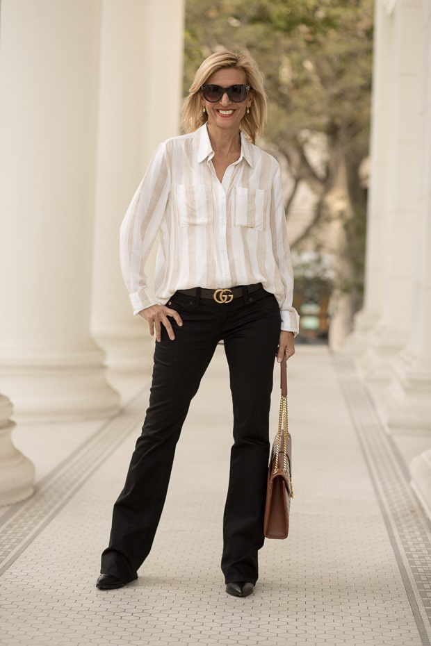 Styling Neutral Colors For Fall with a tan an ivory two pocket womens shirt