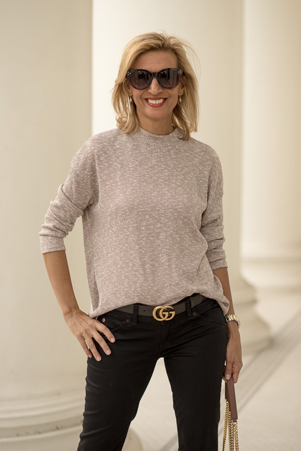 Styling Neutral Colors For Fall with a taupe and ivory mock turtle neck top for women
