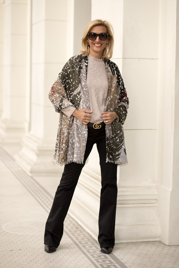 Styling Neutral Colors For Fall with abstract leaf print scarf