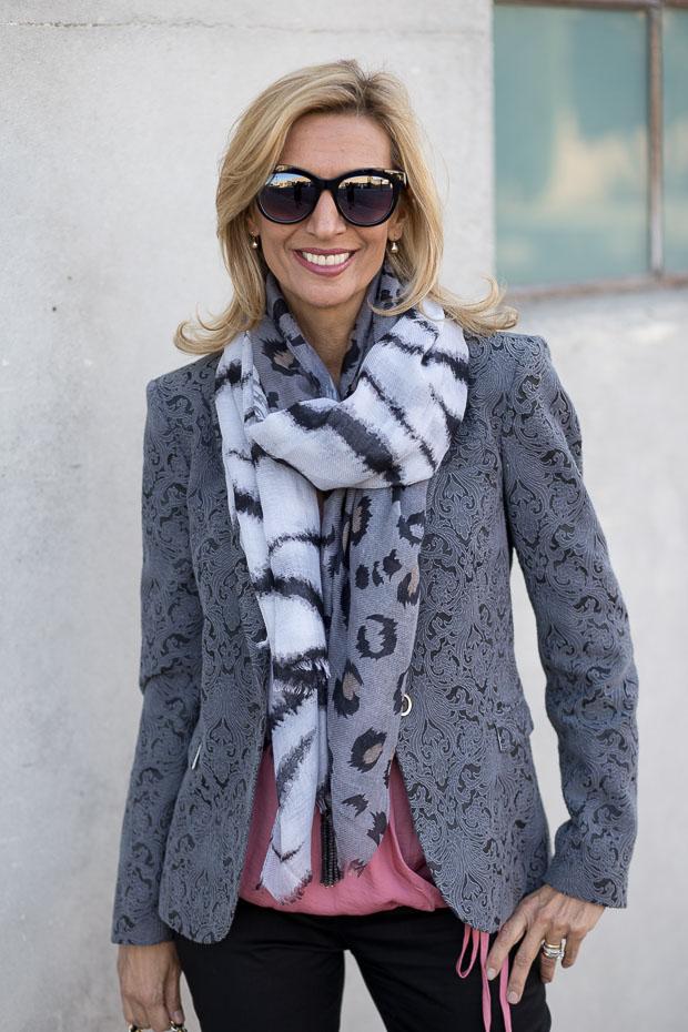 Florence Jacquard Blazer and Rose Criss Cross Blouson Blouse