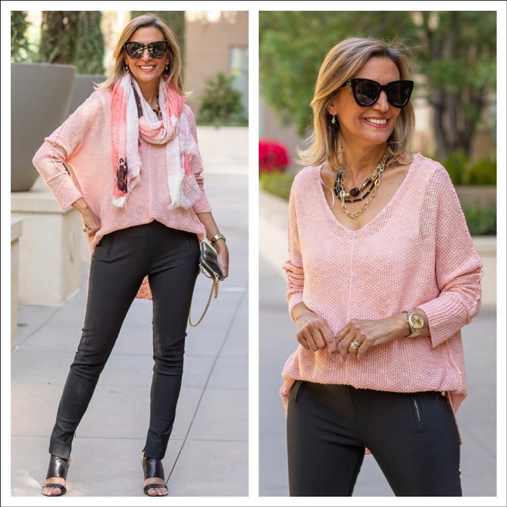 jacket Society flamingo pink tape yarn sweater