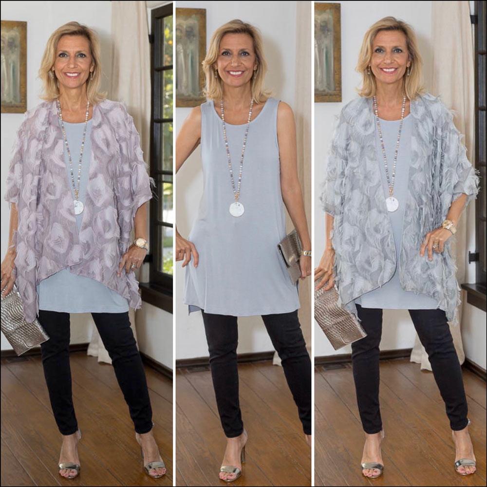 Womens Eyelash Kimonos in Silver and Mauve