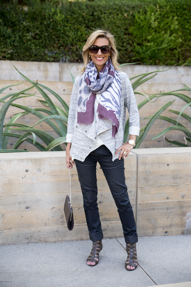 Heather Gray Knit Cascading Collar jacket with scarf
