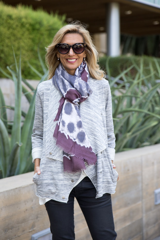 Heather Gray Knit Cascading Collar j with scarfacket