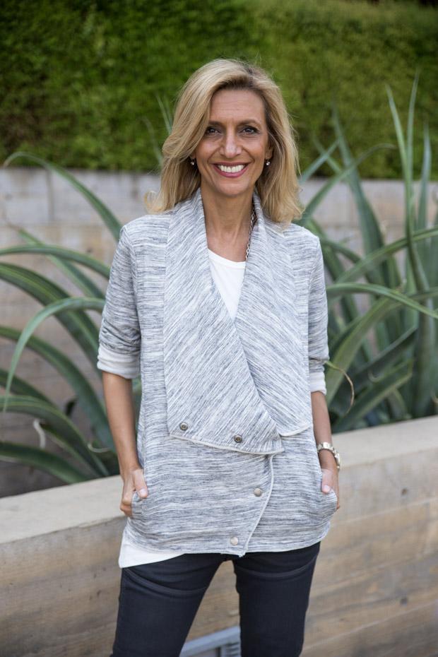 Heather Gray Knit Cascading Collar jacket