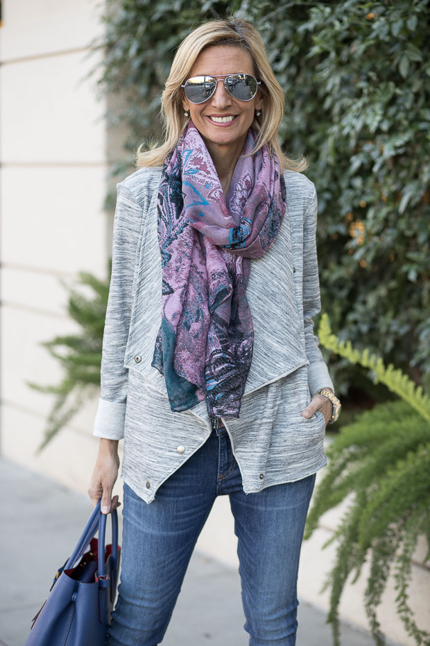 Heather Gray Knit Jacket With Snaps