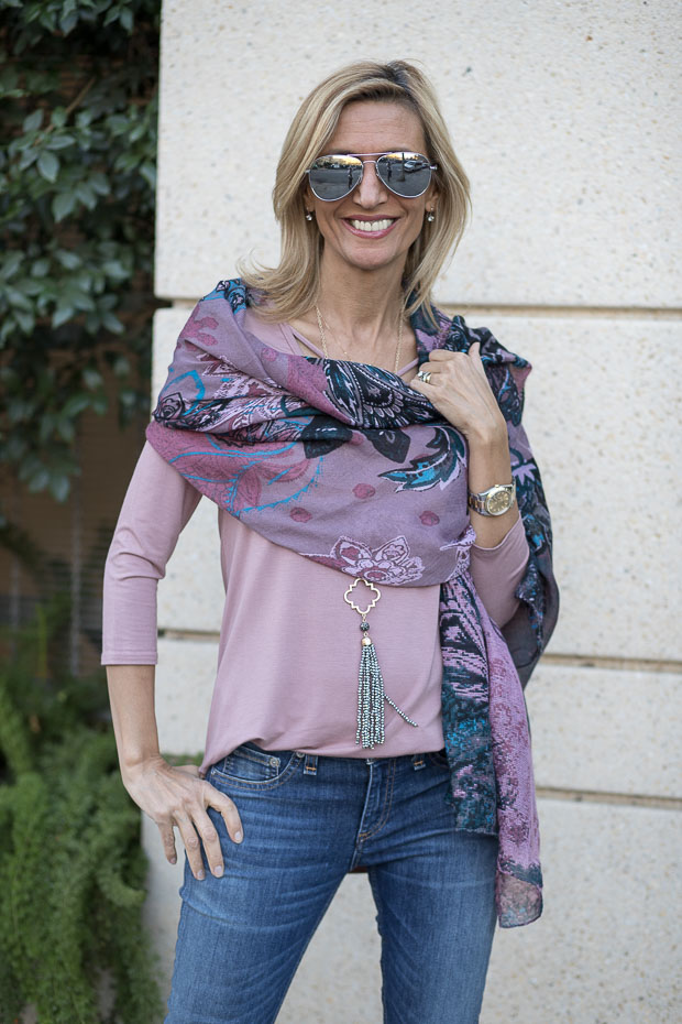 Pink Turquoise Black Floral Paisley Scarf Shawl