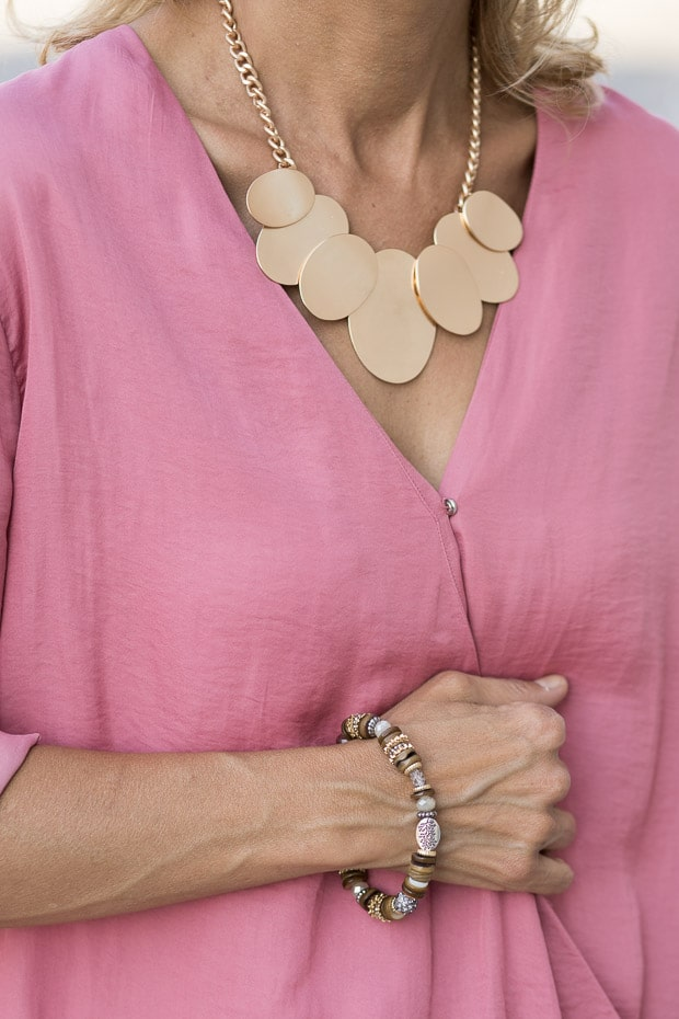 Rose Criss Cross Blouson and staement necklace
