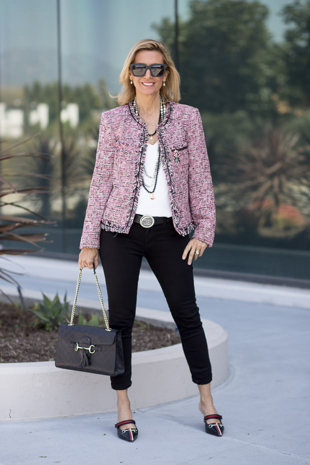 classic womens boucle jacket in pink