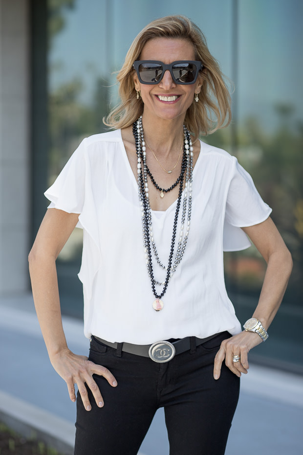 White V neck Flounce Sleeve Top for women with necklace