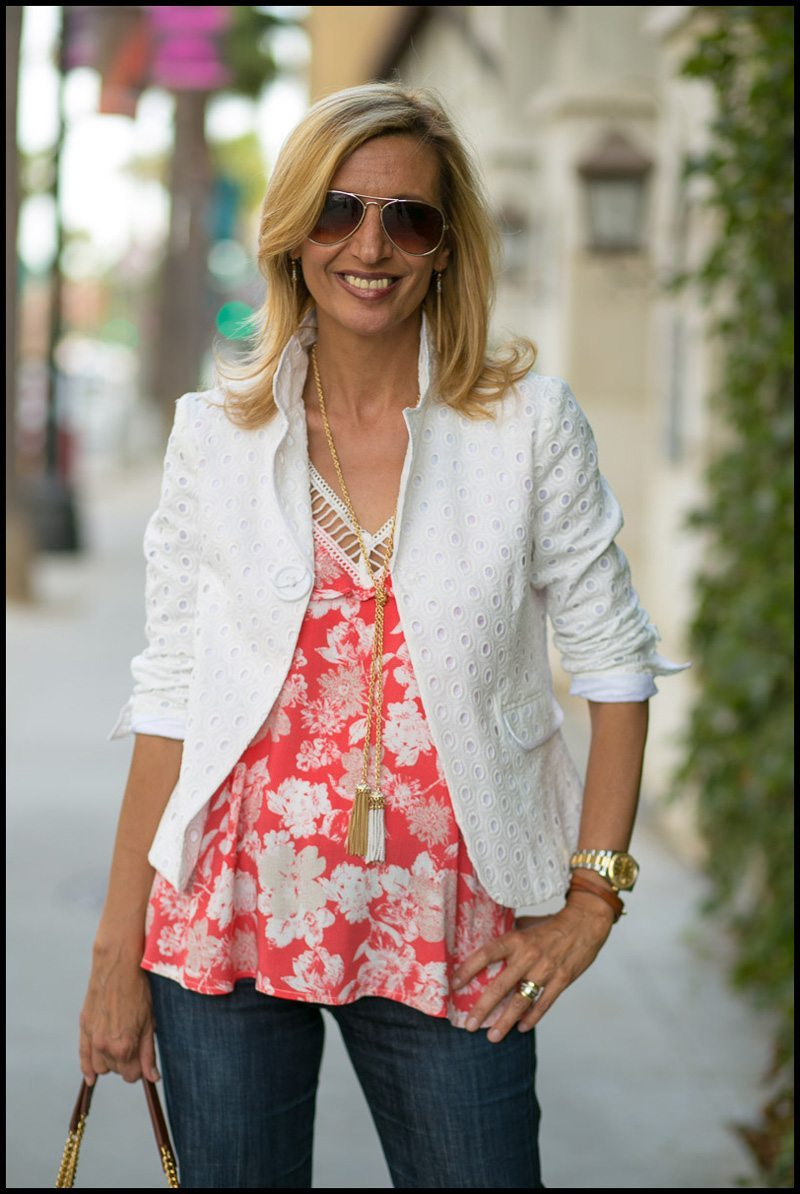 Ivory Eyelet Jacket, Coral Bouquet Top and Rope Necklace