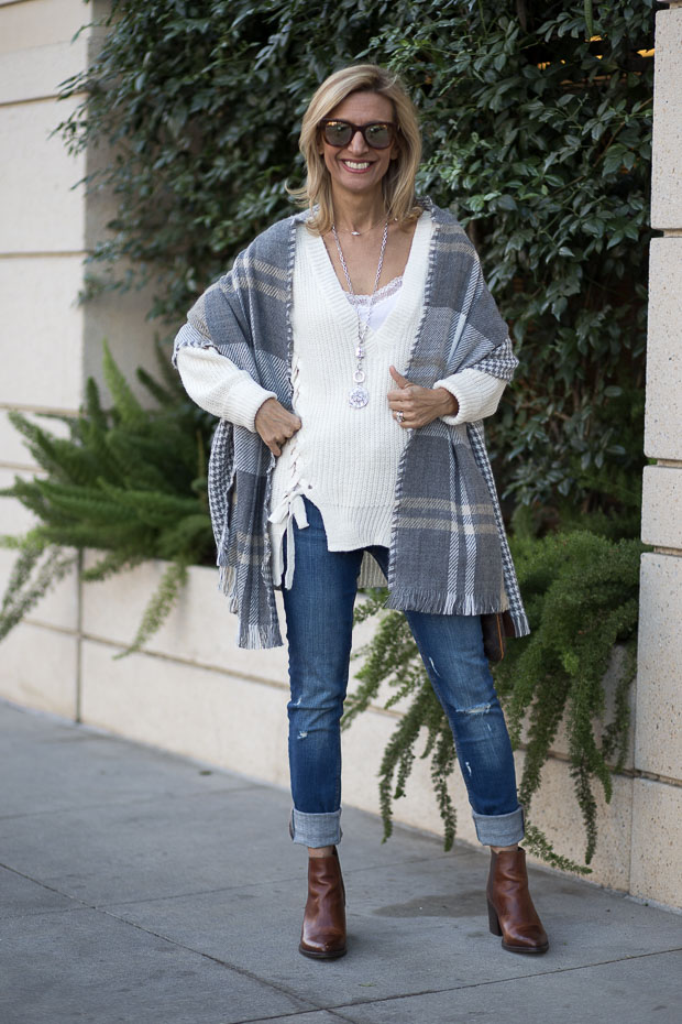 Ivory Sweater And Double Sided Shawl