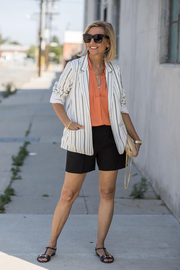 womens stripe blazer simmer look