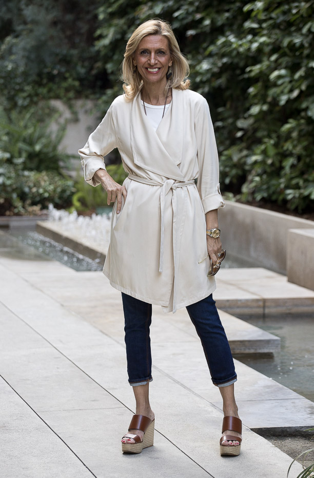 Looking Chic In Our Butter Cascading Collar Belted Duster Coat