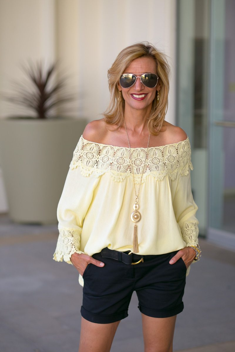 Maize-Yellow-Womens-Off-The-Shoulder-Top-Jacket-Society-6043