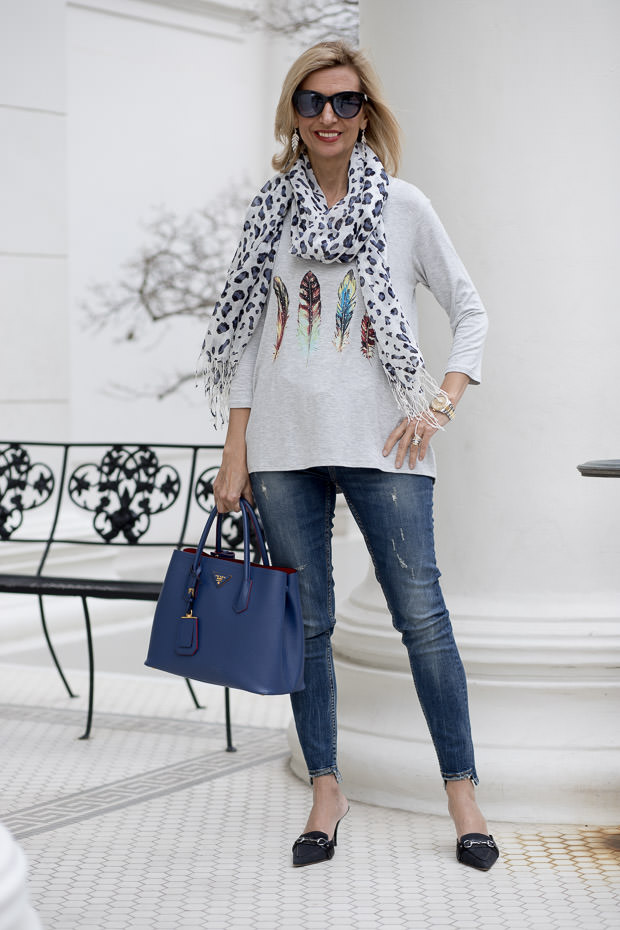 heather gray multi color feather print graphic top with leopard print scarf