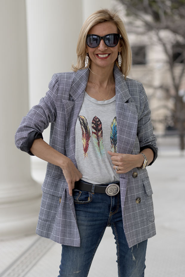 heather gray feather print graphic top with Plaid Blazer