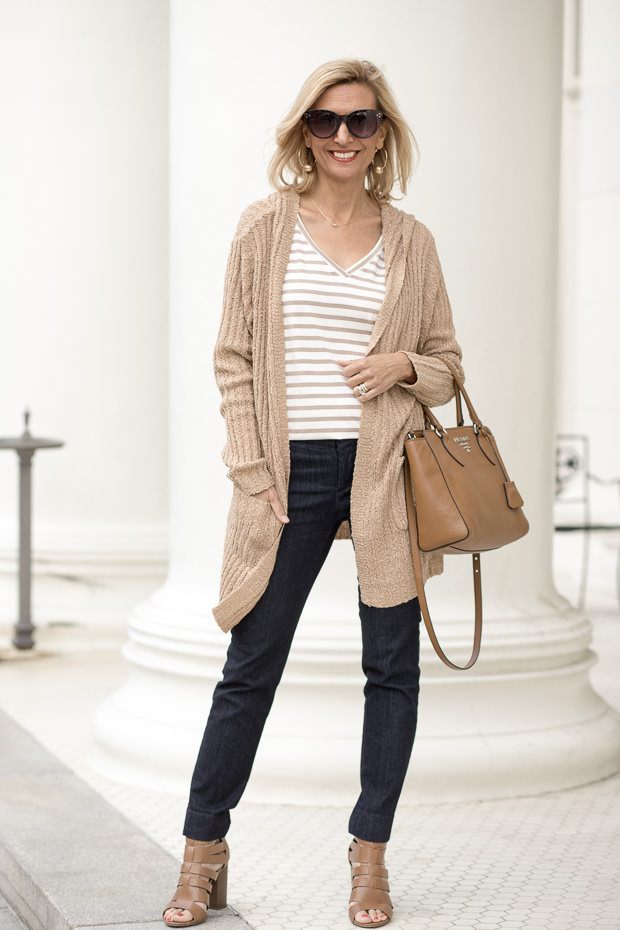Coco Ivory Stripe V neck T Shirt with Jute Knit Cardigan