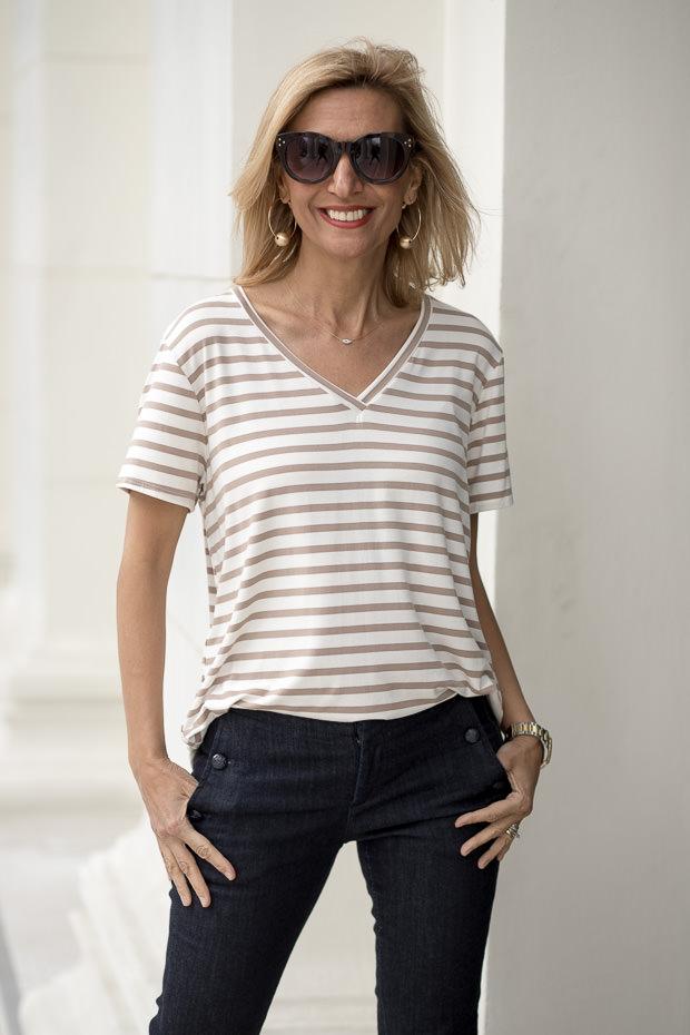 Coco Ivory Stripe V neck T Shirt For Women