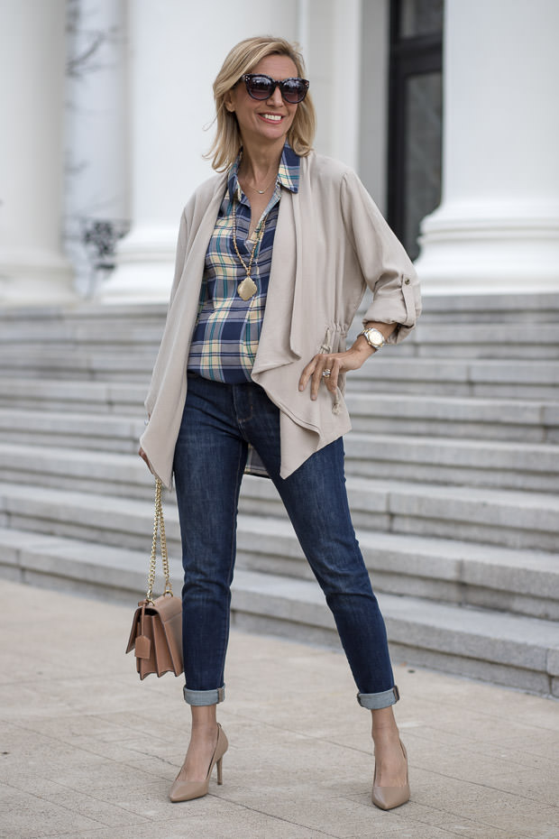 Blue and Tan Plaid Shirt With Tan Cascading Collar Jacket for women