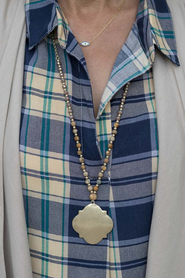 Blue and Tan Plaid Shirt For Women Gold Tone Pendant Necklace