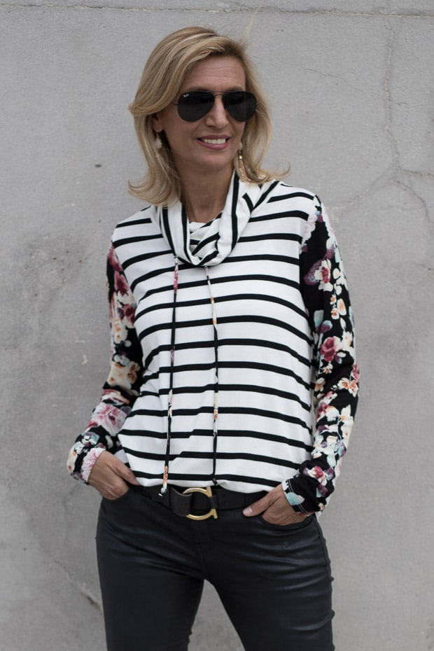Ivory Black and Burgandy Cowl Neck stripe floral womens blouse