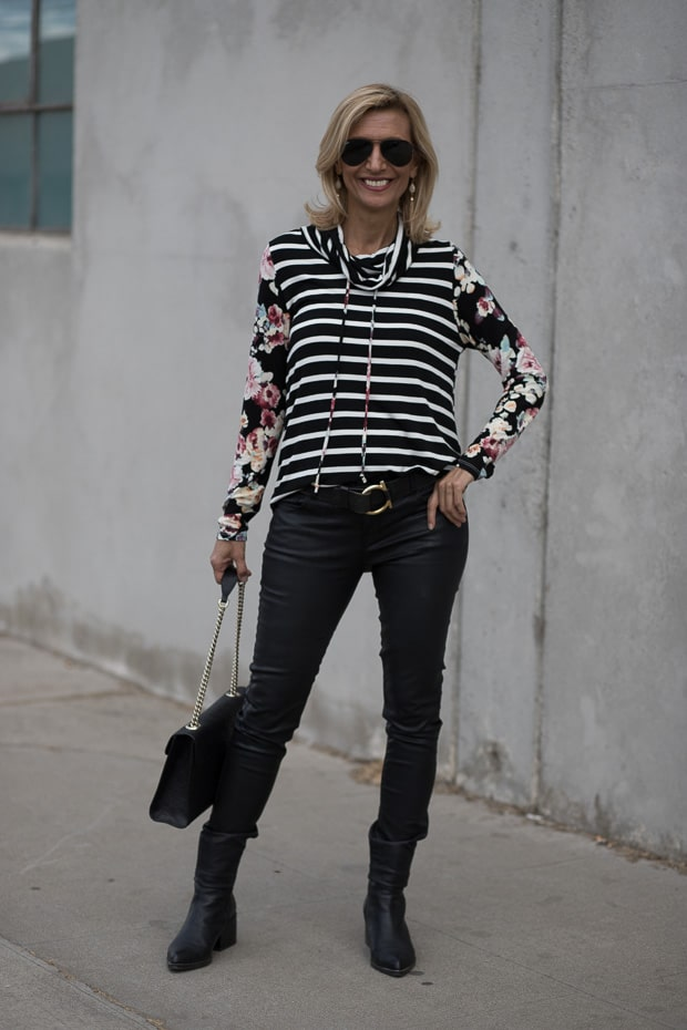 Black Burgandy and Ivory Cowl Neck stripe floral womens blouse