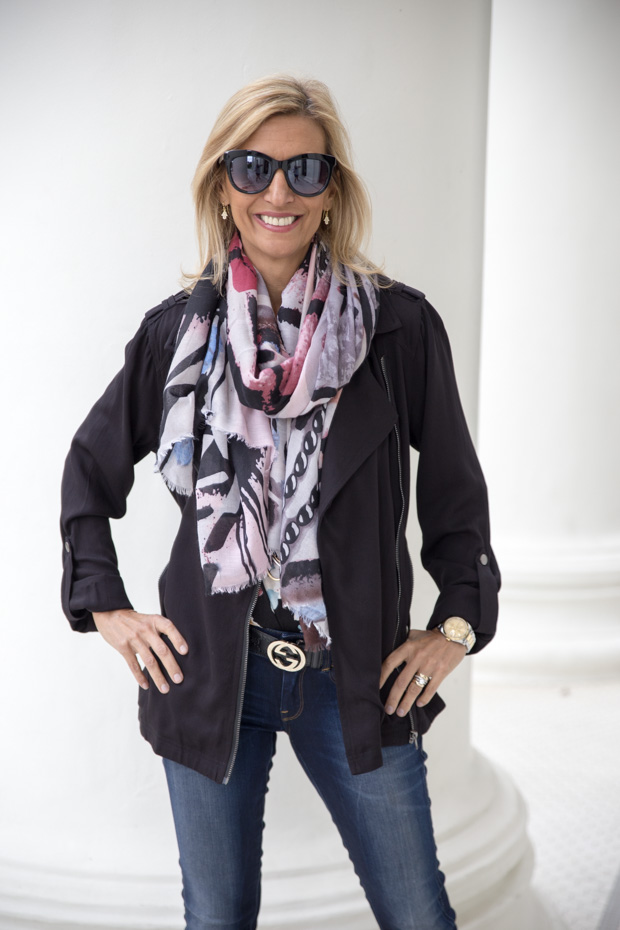 New Floral Stripe T Shirt and Black Rayon Belted Moto Jacket close up
