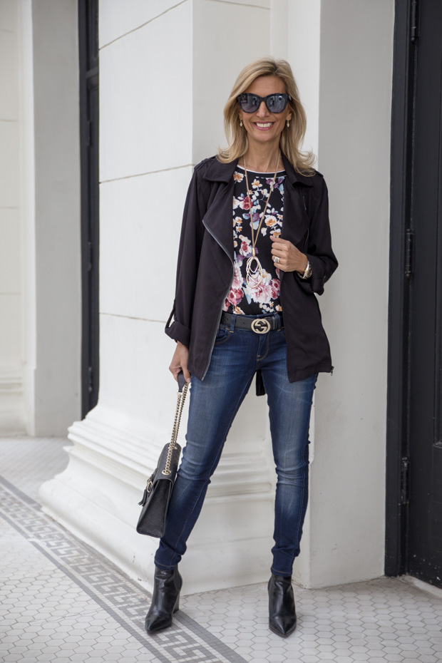 New Floral Stripe T Shirt and Relaxed Black Rayon Belted Moto Jacket
