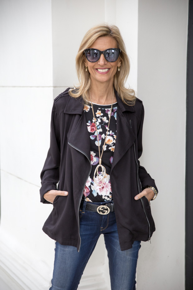New Floral Stripe T Shirt and Black Rayon Belted Moto Jacket front