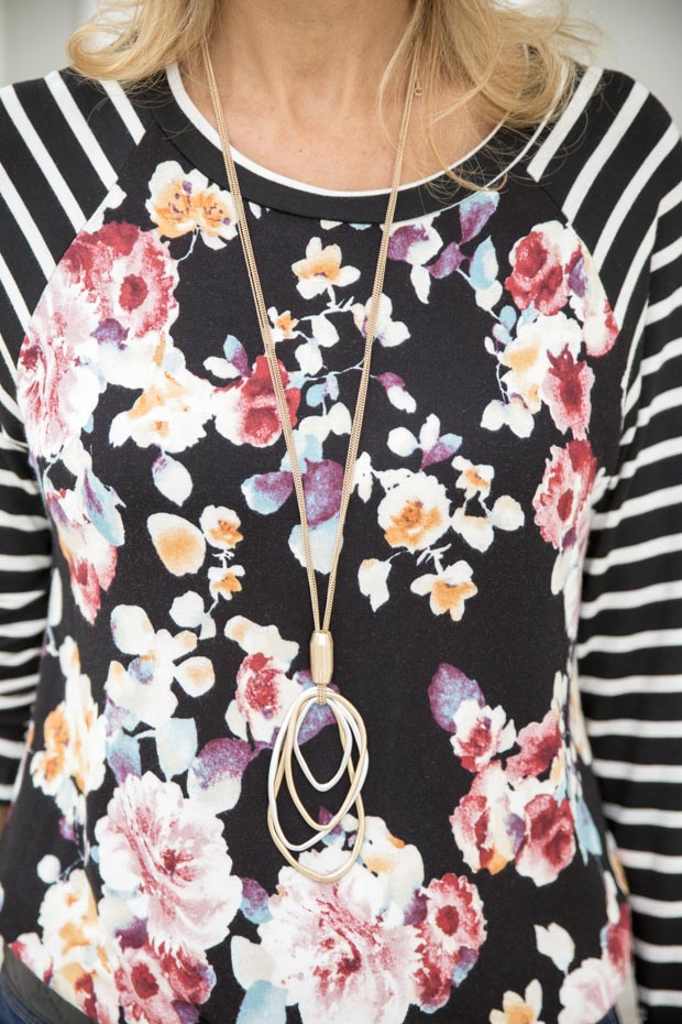New Floral Stripe T Shirt and Black Rayon Belted Moto Jacket and necklace